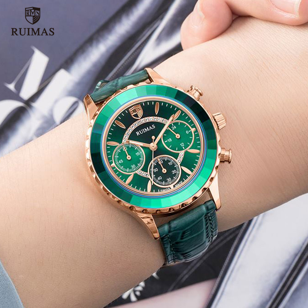 RUIMAS Women's Chronograph Quartz Watches Luxury Green Leather Wristwatch Lady Female Watch Top Brand Relogio Feminino Clock 592