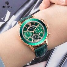 RUIMAS kadın Chronograph kuvars saatler lüks yeşil deri kol saati bayan kadın izle üst marka Relogio Feminino saat 592