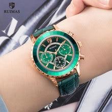 Ruimas feminino cronógrafo relógios de quartzo luxo couro verde relógio de pulso senhora feminino marca superior relógio relogio feminino 592
