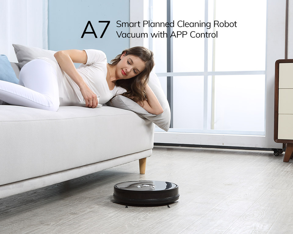 H7e4a09481022468f9eeeb3d13f7c7d92q ILIFE A7 Robot Cleaner Vacuum Smart APP Remote Control for Hard Floor and Thin Carpet Automatic Recharge Slim Body