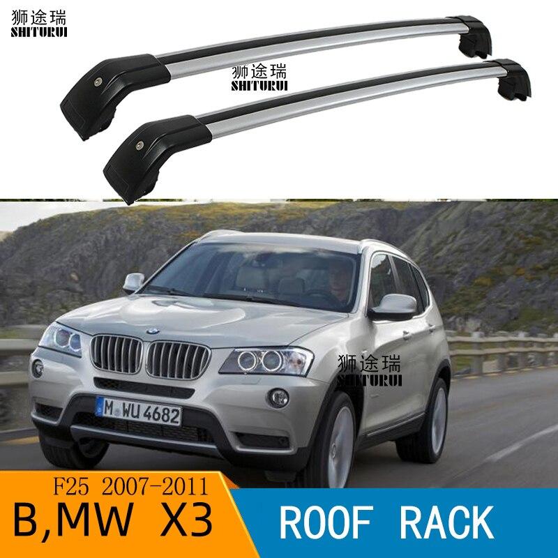 SHITURUI barres de toit 2 pièces pour Bmw-X3 (f25) [2007-2011] barres latérales en alliage d'aluminium traverses porte-bagages de toit porte-bagages