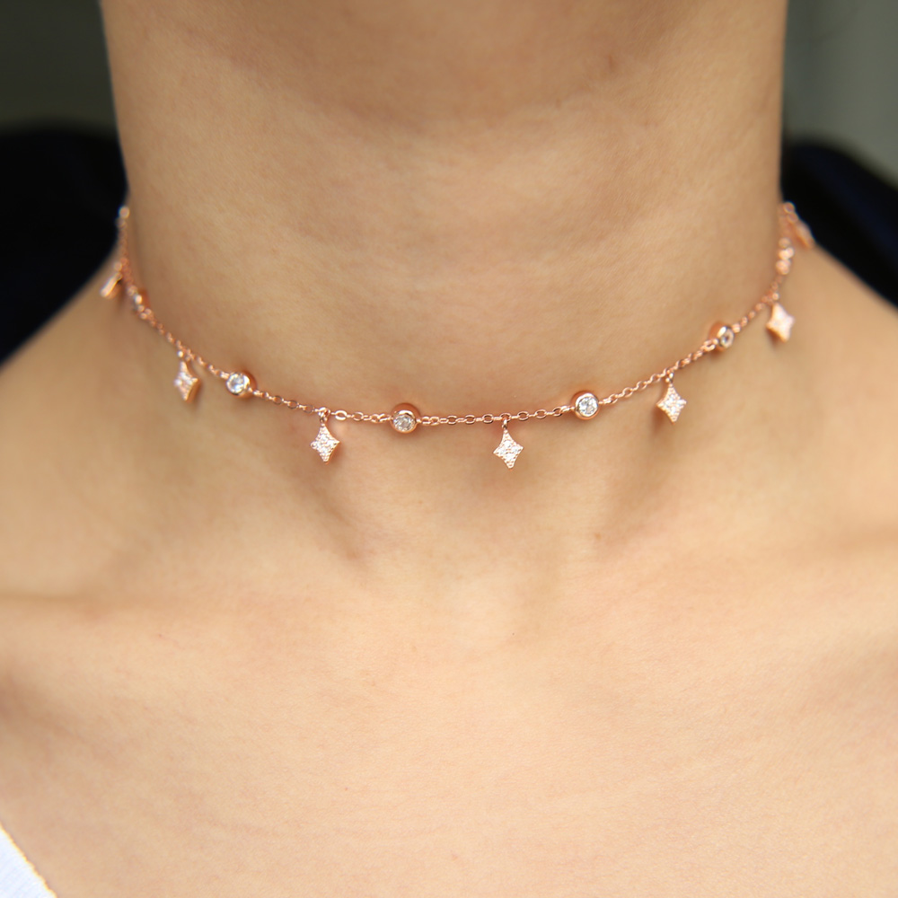 100% 925 sterling silver choker necklace Cubic Zirconia AAA drop star charm statement fine silver fashion evening party jewelry