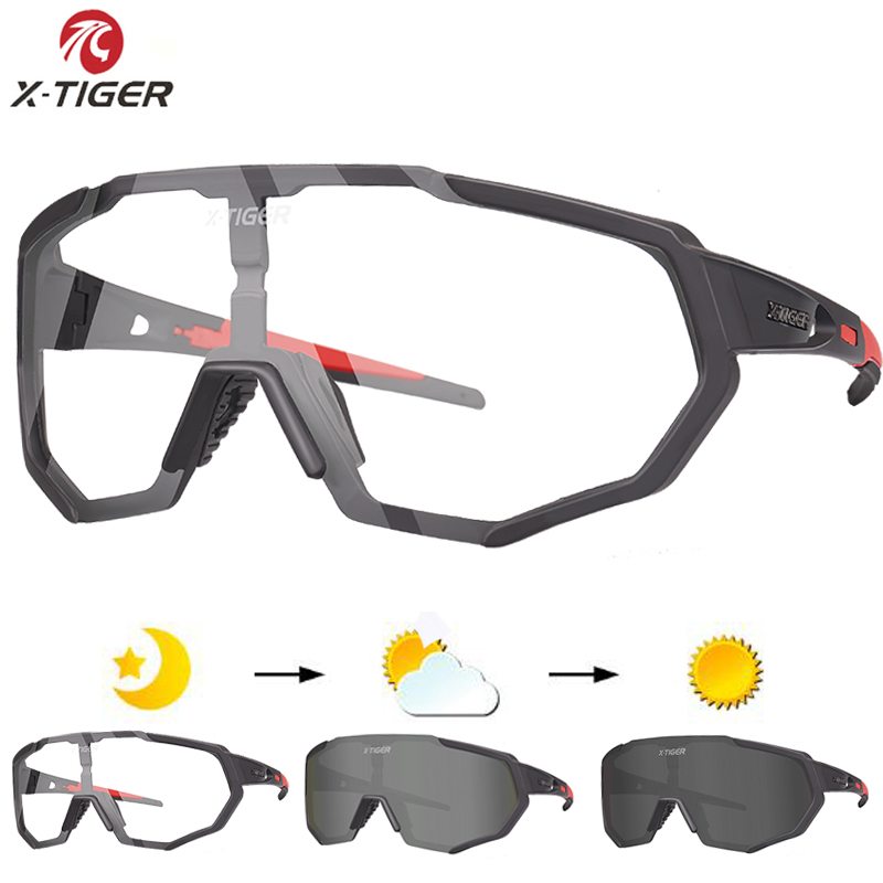 X-TIGER Photochromic Polarized Cycling Glasses Outdoor Sports MTB Bicycle Bike Sunglasses Goggles Bike Eyewear Myopia Frame