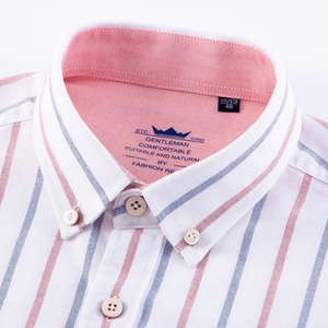 Image 2 - Męska Casual 100% bawełna Oxford w paski koszula pojedyncza naszyta kieszeń z długim rękawem standardowe dopasowanie wygodne grube koszulki z guzikami
