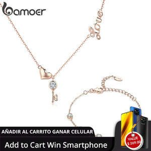 Image 1 - Bamoer colares de prata refinada 925, conjunto de joias de prata autêntica para casamento
