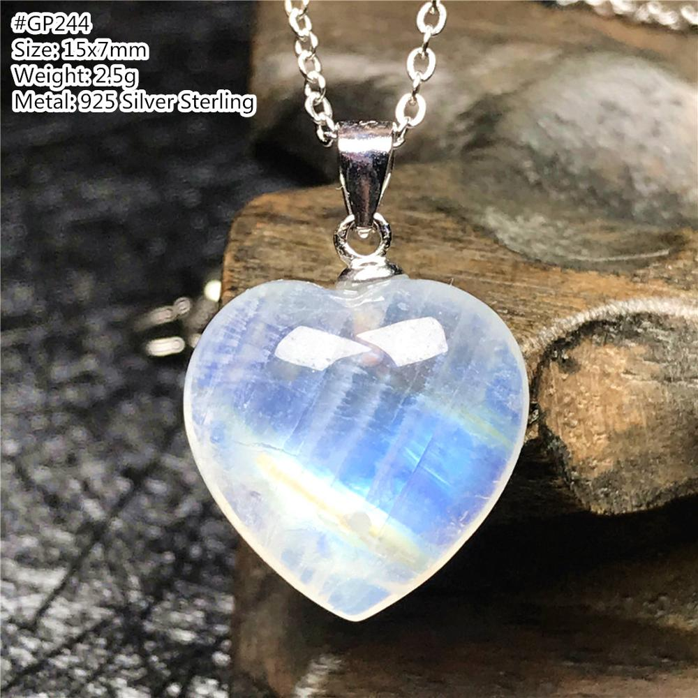 Top Natural Heart Moonstone Pendant Necklace For Woman Lady Man Silver Sterling Chains Love Blue Light Crystal Jewelry AAAAA