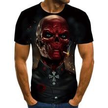 Nova camisa de manga curta com estampa de caveira masculina com impressão 3d camisa casual