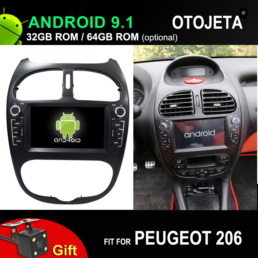 4G Lte Octa Core Car Android 9.1 Player For Peugeot 206 Car Gps Multimedia Head Unit Stereo Tape Recorder With Reversing Camera