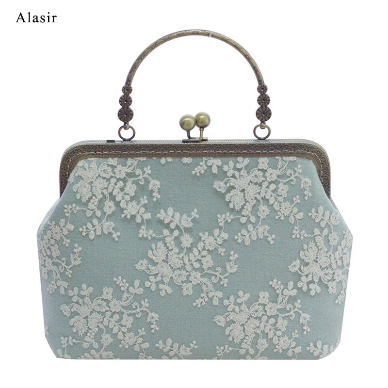 Alasir Floral Lace Frame National  Womens Handbags And Purses Cotton Fabric Lace Chinese Style Small Shoulder Bag Ladies