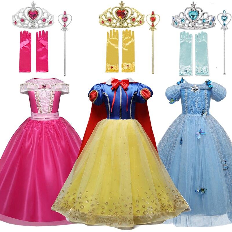 Meninas neve branca princesa traje para crianças festa de halloween bella cosplay fantasiar-se crianças dormindo beleza disfarce fille