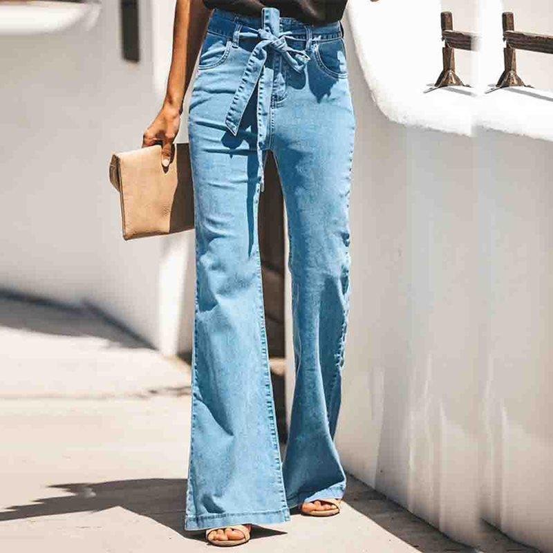 2019 Autumn New Belt Lace Up Mom Jeans High Waist Bell Bottom Loose Women Boyfriend Denim Trousers Wide Leg Flare Jean Pants