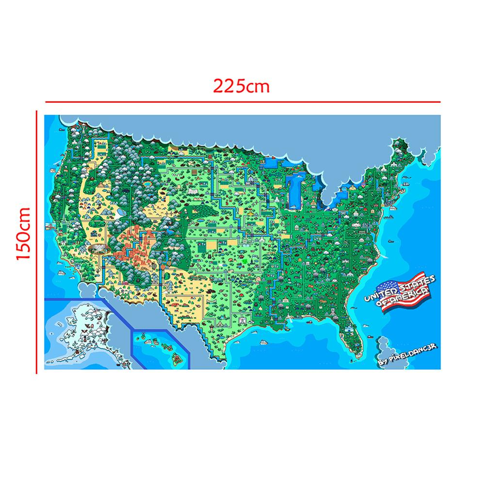 Non-woven Map Of The United States Of America Funny Decor Map By Pixeldancer 150x225cm Home Bar Poster