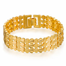 New Style Fashion Alluvial Gold Bracelets Wide Heart Watch Chain Men's Copper Plated 24 K Real Gold Jewelry(China)