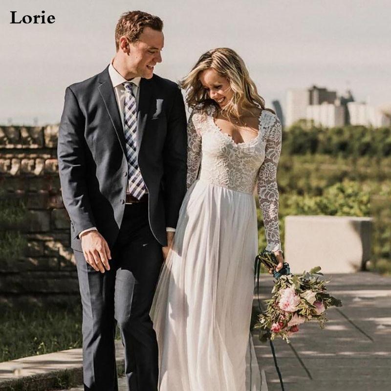 LORIE Boho Wedding Dress Long Sleeve Robe De Mariee Vintage Lace  Sweetheart Bridal Dress 2020 Chiffon Wedding Gowns