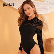 ROMWE Mock Neck Geo Mesh Yoke Trim Black Bodysuit Women Solid Fall Long Sleeve