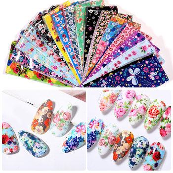 10 Pcs Rose Flowers Nail Foils Tropical Leaves Colorful Nail Decals Transfer Decorations Sets for Manicuring DIY Sticker Slide 19