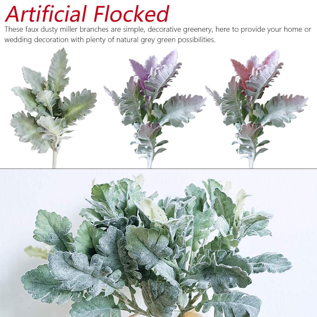 Flocked Artificial Miller Plants Purple Leaves Home Wedding Christmas DIY Decoration Fake Flowers Arrangement Faux Foliage