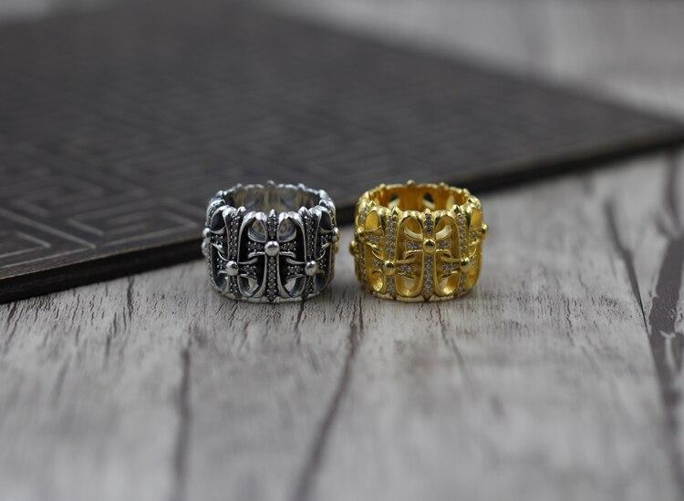 S925 puur zilver mannen ring persoonlijkheid retro De punk stijl Kruis grafsteen set met zirkoon classic ring Cadeau uw lover - 2