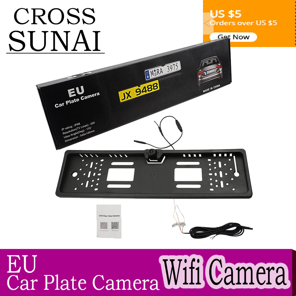 EU HD Camera License Plate Frame Car DVR Wifi Backup Parking Reverse Rear View Camera Vehicle Auto Security Camera Night Vision-in Vehicle Camera from Automobiles & Motorcycles