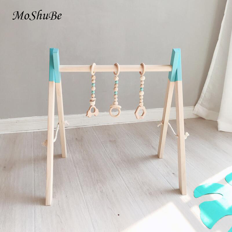 Nordic Baby Activity Gym Rack Play Nursery Sensory Ring-pull Toys For Children Wooden Frame Toddler Clothes Rack Kids Room Decor