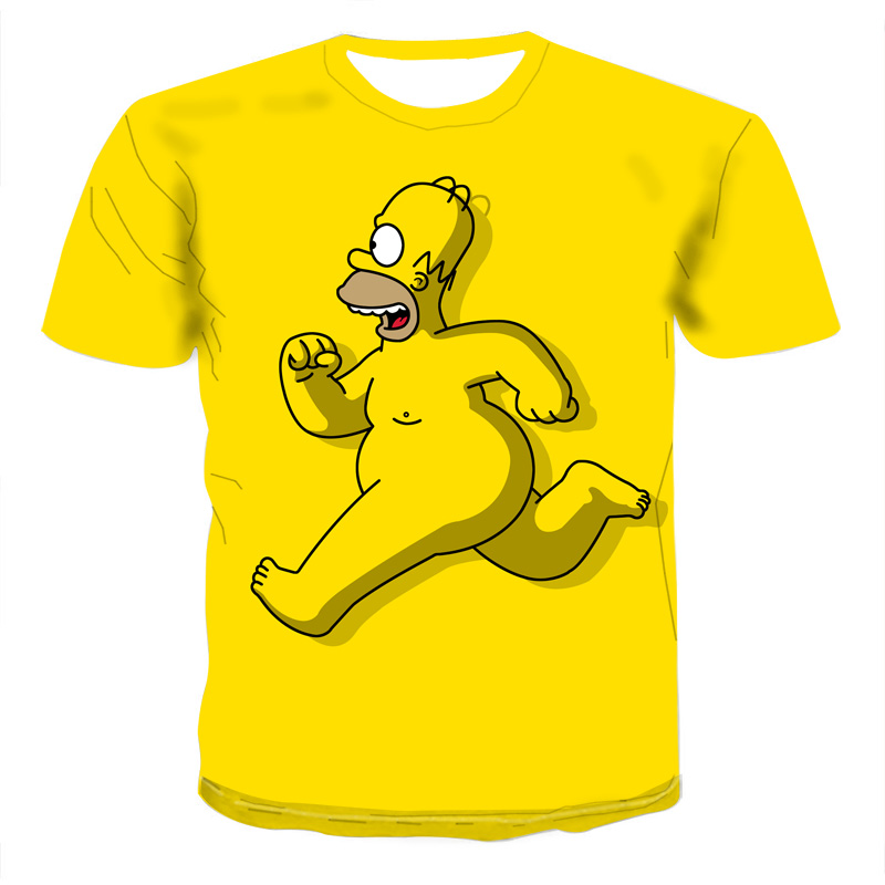 New Cartoon Simpson T Shirt Hrarjuku Skull T Shirt Men Tops Clothing Short-sleeved 3D Printed Streetwear Hip Hop Tees Tshirts