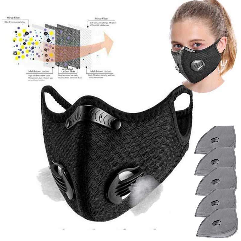 Cycling Mask Sport Face Mask With Meltblown Filter Activated Carbon PM 2.5 Anti-Pollution Running Cycling Mask