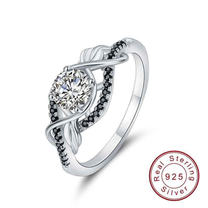 สีดำAWNกรัมของแท้ 100% 925 เงินสเตอร์ลิงเครื่องประดับBlack & Whiteหินงานแต่งงานแหวนBijouxขนาด 5 6 7 8 9 10 C307