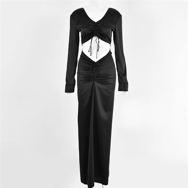 2021 Summer Two Piece Set Top And Maxi Skirts Womens Tracksuit Sexy Long Sleeve V-neck Party Suit Sets Woman 2-Piece Outfit Sets 6
