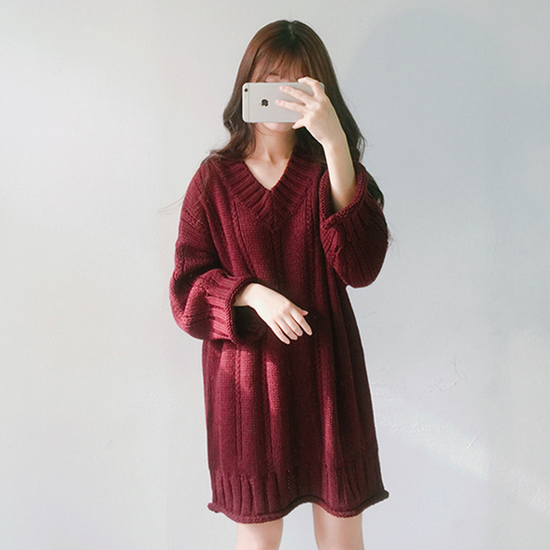 2019 New Korean Version Of The V-neck Solid Color Loose Wild Long-sleeved Long Sweater Dress Sweater Women Clothes Dropshipping