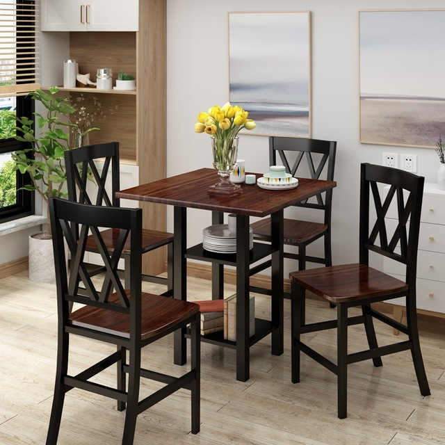 5 Piece Dining Set With Double Shelf And Matching Chairs For Family Use, Dining Room Furniture Set 5