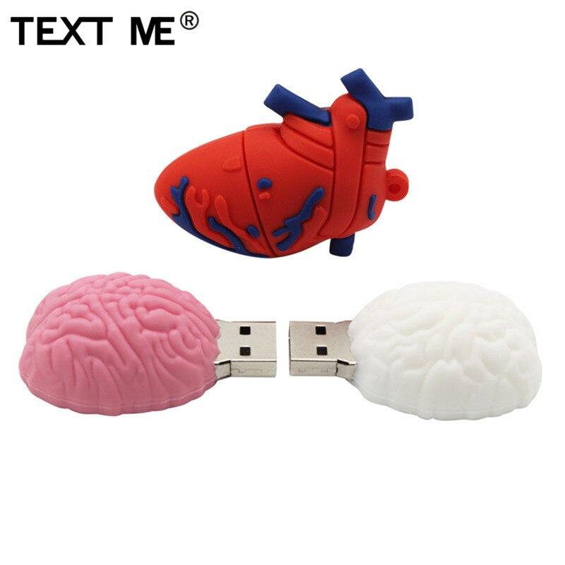 TEXT ME  Heart And Brain Model 64GB  4GB 8GB 16GB 32GB Cute Mini Pig Cub Tiger Model Usb Flash Drive Usb 2.0  Pendrive