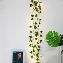 Guirlande de feuilles de plantes artificielles 2M 20led, vigne, faux feuillage, décoration de jardin maison, accessoires de décoration de maison pour mariage