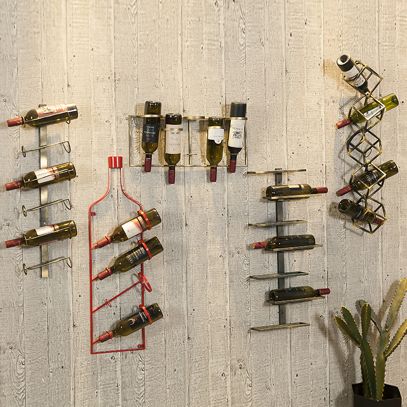 Retro Design Red Wine Rack Creative Wine Cabinet Retro Industrial Style Bar Decoration Tieyi Red Wine Rack Creative Wine Cabinet