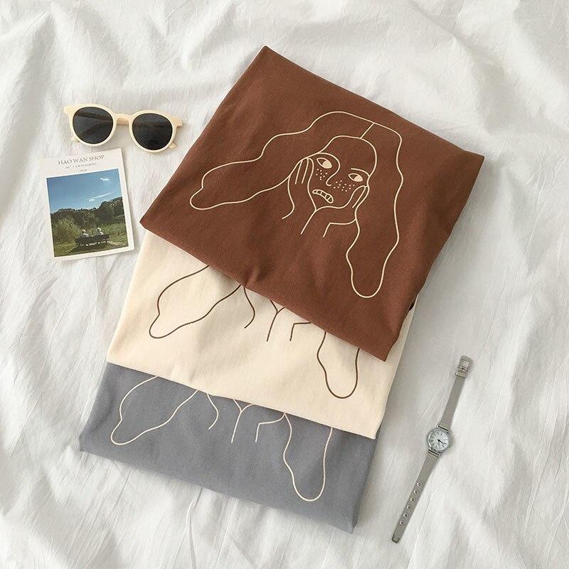 Stripes Women Face Printed Women Beige T Shirt Short Sleeve Summer Brown Tee