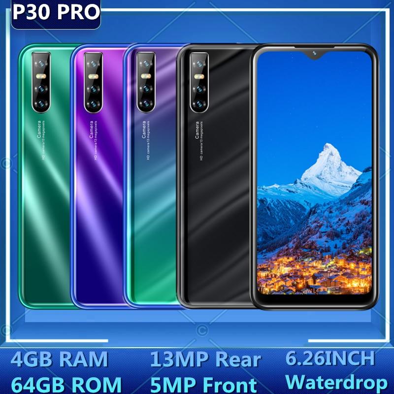 Оригинальные смартфоны P30 Pro мобильный телефон 4 Гб RAM 64 Гб ROM 6,26 дюйма 13MP распознавание лица разблокированные мобильные телефоны Android OS