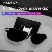 Clip de gafas de coche para Tesla model 3/model y/x/s, visera de sol, clip para tarjeta, BILLETERA, caja de sujeción, accesorios para gafas