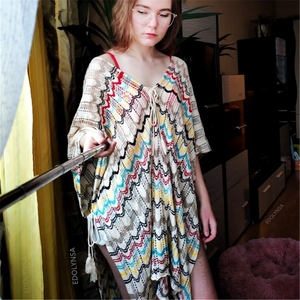 Image 5 - Oversize Crochet Beach Dress Cover up Sarong Kaftan Beach Tunic Plage Bathing suit cover ups Pareo Beach Bikini Cover up #Q776