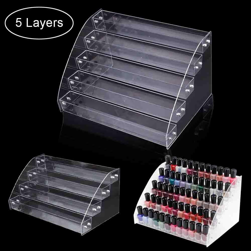 1 To 7 Tier Nail Polish Display Stand Rack Acrylic Clear Cosmetic Varnish Nail Art Manicure Tool Organizer Plastic Storage Box