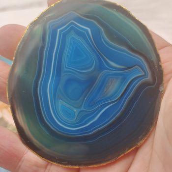 1 sztuk 6-8cm naturalny agat Geode kawałek izolowane podstawki kryształ pokładzie jade agat podstawki z pozłacane koronki mineralne wykończenia tanie i dobre opinie crystal wand CN (pochodzenie) MASKOTKA FENG SHUI CHINA KRYSZTAŁ
