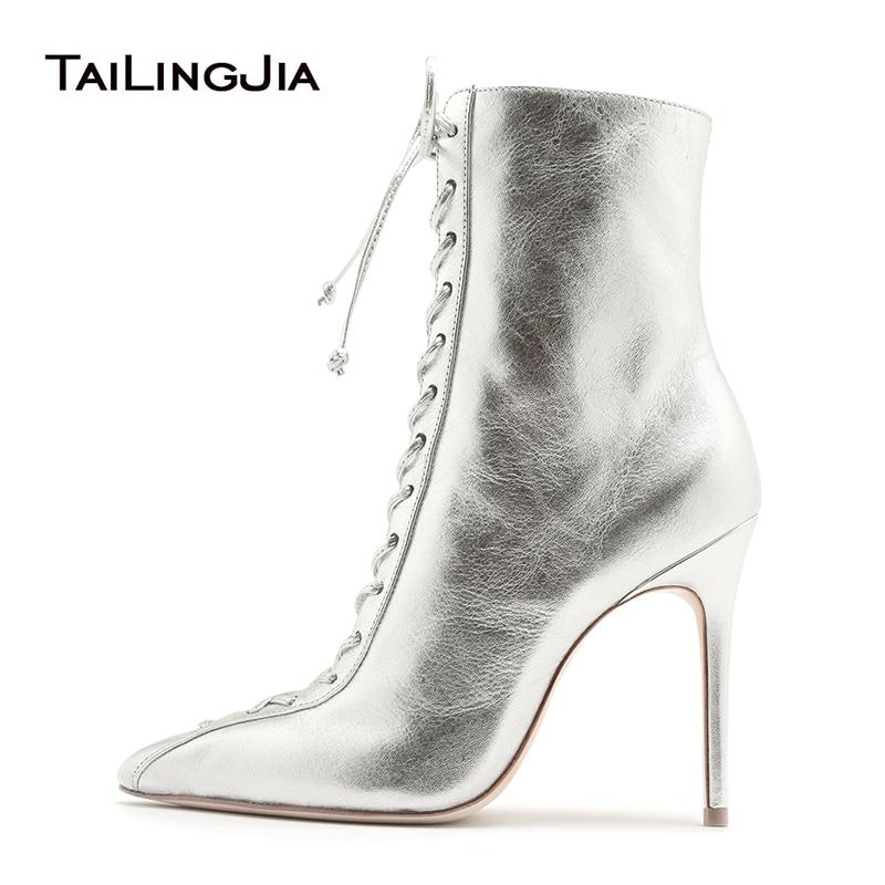 silver high heel booties