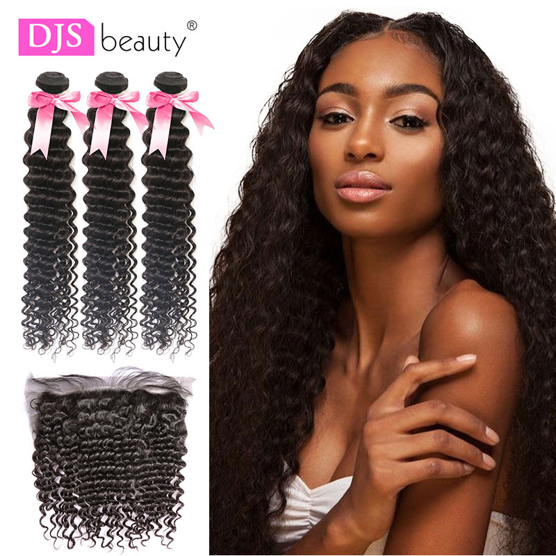 Curly Bundles With Frontal Remy Human Hair Bundles With Closure Deep Wave Brazilian Hair Weave Bundles With Closure DJSbeauty