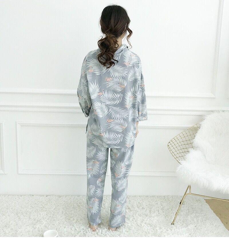 Image 5 - Womens Pajamas Sets Autumn Cotton Flamingo Lapel Top + Long Pant 2 Piece Sets Pajamas Set For Women Sleepwear Girls Pyjamas SuitPajama Sets   -