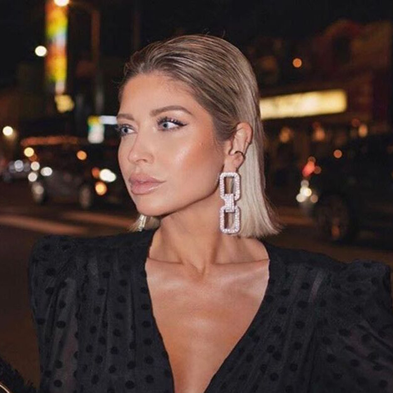 Mode Neue Shiny Doppel-Doppelseitige Hängende Hohl Strass Ohrringe Anhänger Temperament Damen Schmuck