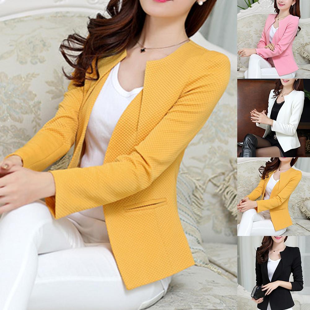 Spring Women Slim Blazer Coat Plus Size Casual Jacket Long Sleeve One Button Suit Office Lady Blazers Work Wear Top Fashion