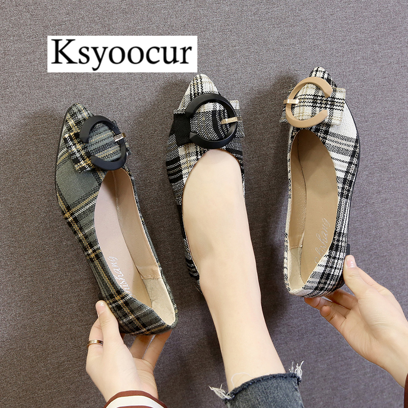Brand Ksyoocur 2020 New Ladies Flat Shoes Casual Women Shoes Comfortable Pointed Toe Flat Shoes Spring/summer Women Shoes X10