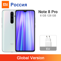 Versão global xiaomi redmi nota 8 pro 6gb 128gb telefone móvel 64mp quad câmera nfc 4500mah helio g90t 6.53