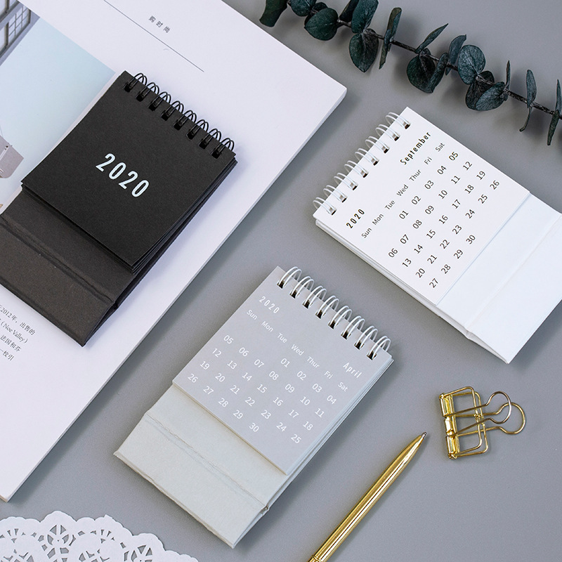 Creative 2020 Simple Desktop Standing Coil Paper Calendar Memo Daily Schedule Table Planner Yearly Agenda Organizer