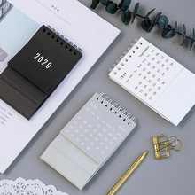 цена Creative 2020 Simple Desktop Standing Coil Paper Calendar Memo Daily Schedule Table Planner Yearly Agenda Organizer