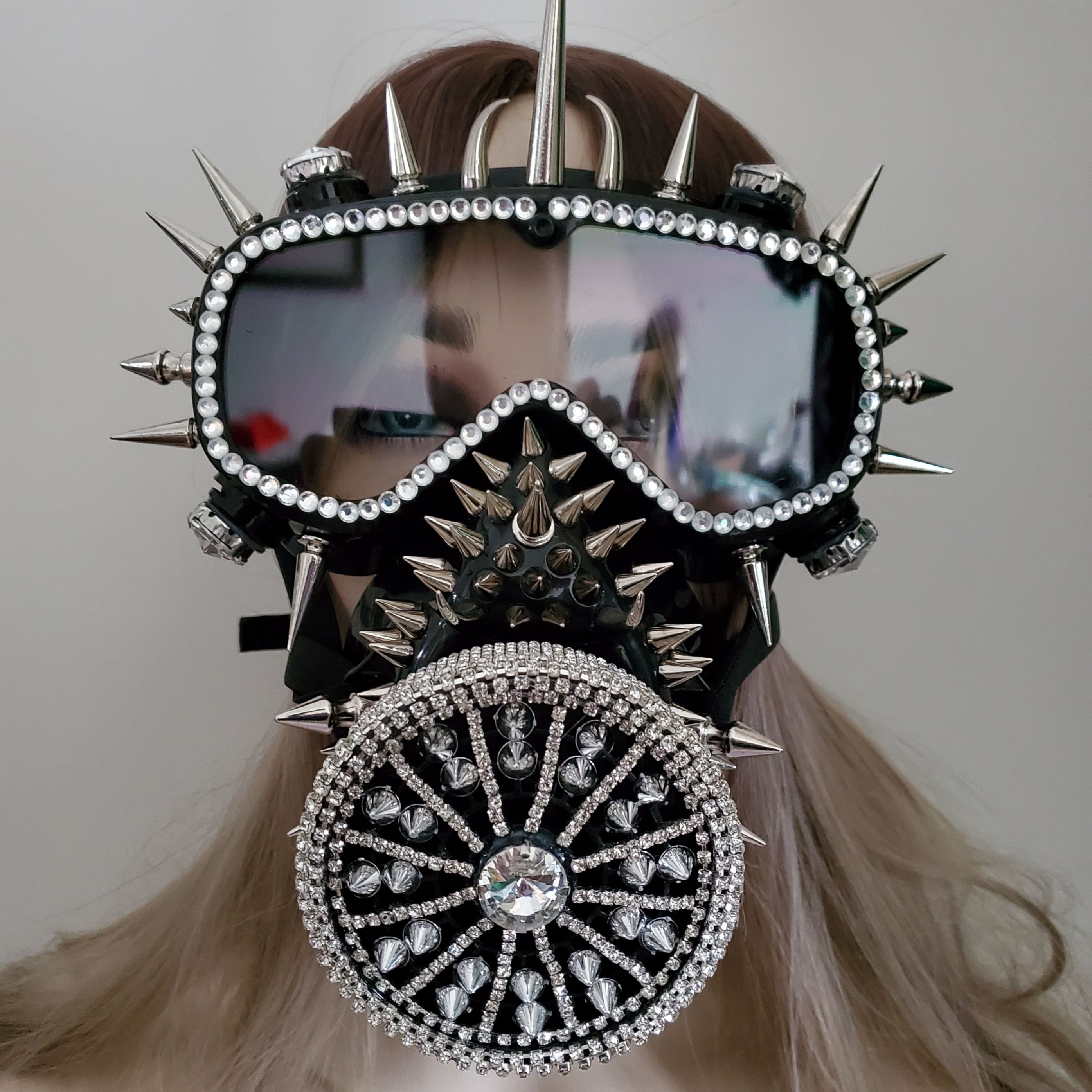 Holographic Rhinestones Black Burning Man Goggles Face Dust Gas Mask Steampunk Costumes Festival Rave Clothes Outfits Gear