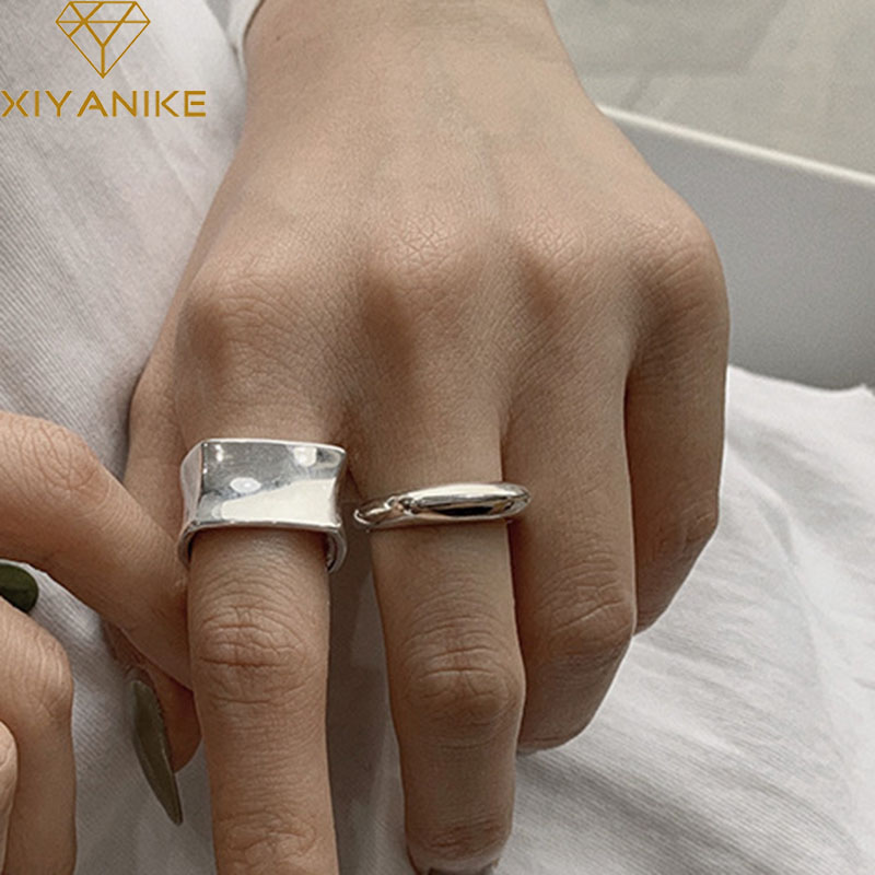 XIYANIKE 925 Sterling Silver Opening Rings Fashion Simple Classic Width Geometric Handmade Finger Jewelry Wedding Accessories